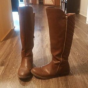 Cognac pleated riding boots w faux zipper